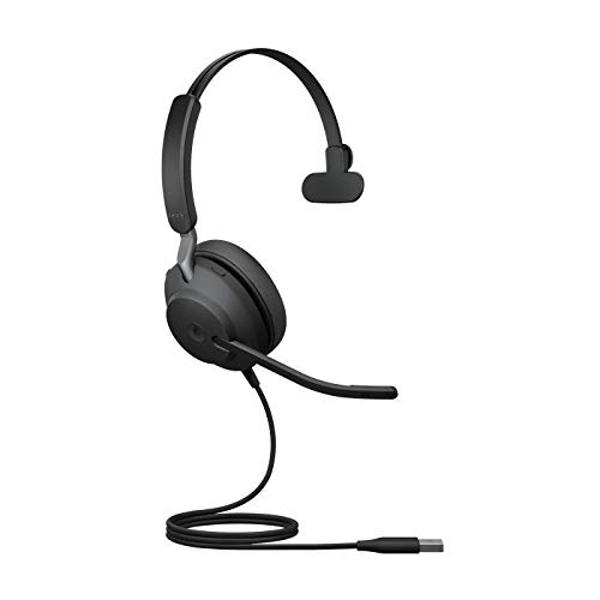 Jabra Evolve2 40 Headset ? Noise Cancelling Microsoft Teams Certified Mono Headphones with 3 microphone Call Technology ? USB A Cable ? Black