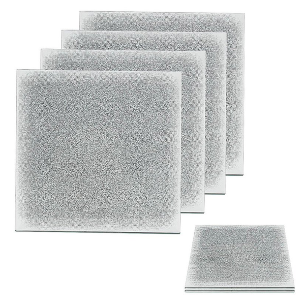 Silver Glitter Glass Set of 4 Coasters by Lesser & Pavey