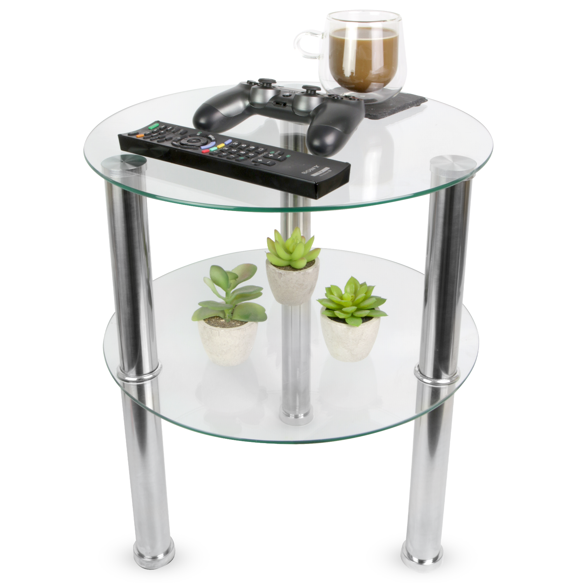 Small Round Glass 2 Tier Table Sofa Side Storage Shelf