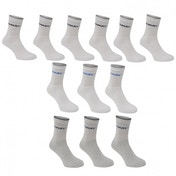 Donnay 12 Pack Crew Socks White & Grey Assortment UK Size 8-12 Kids