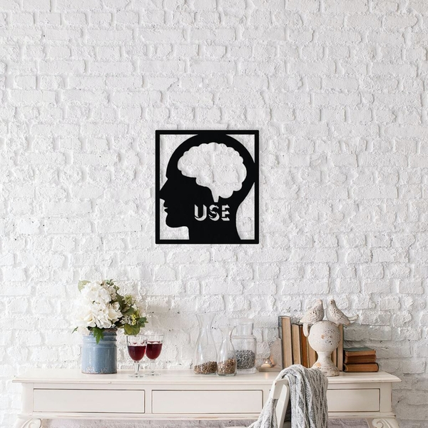 Use Your Mind Black Decorative Metal Wall Accessory