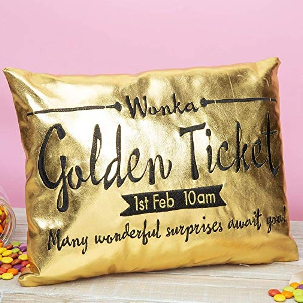 Charlie & The Chocolate Factory Golden Ticket Cushion 40x30