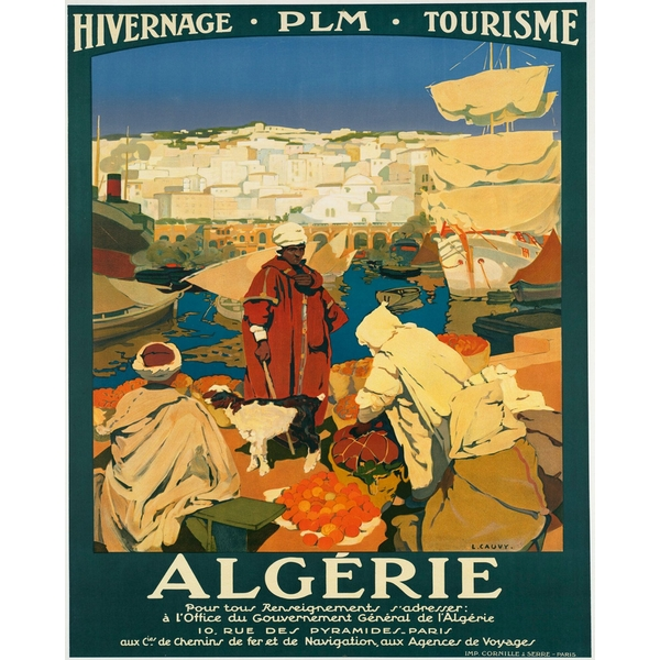 Vintage Metal Sign Retro Advertising Algerie Tourism