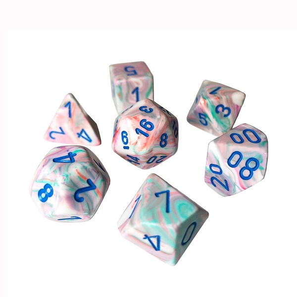 Chessex Poly 7 Dice Set: Festive Pop Art With Blue