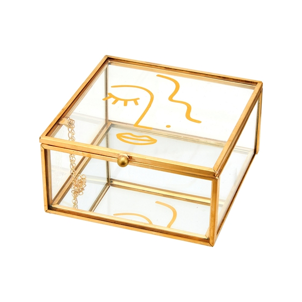 Sass & Belle Abstract Face Glass Jewellery Box
