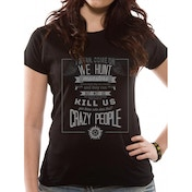 Supernatural - Crazy People (Fitted) Black Medium