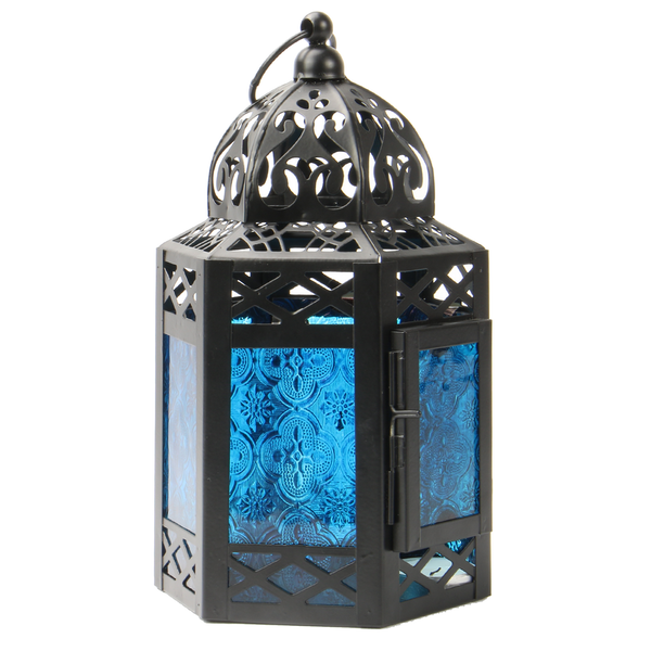 Blue Moroccan Hanging Lantern Tea Light Candle Holder in Vintage Style | M&W