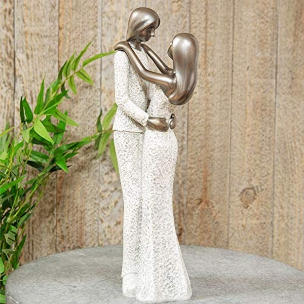 Textured Grey Stone & Silver Finish Standing Couple Figurine