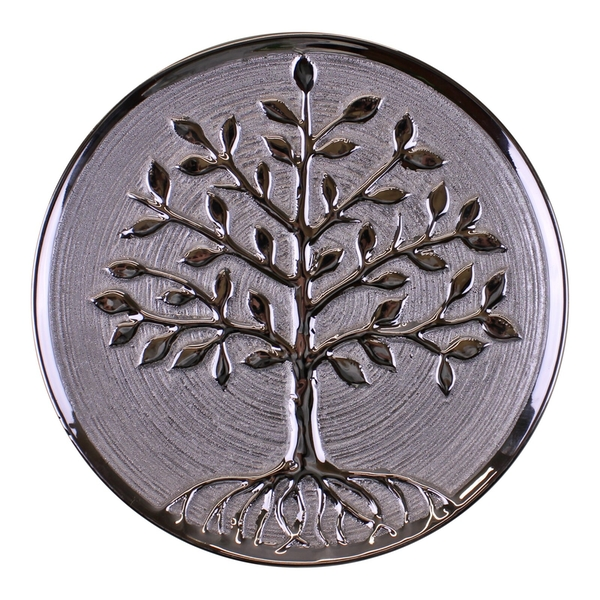 Ceramic Silver Tree Of Life Plate, Wall Hanging or Freestanding 27cm