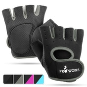 Proworks Women's Padded Grip Fingerless Gym Gloves Grey - Small