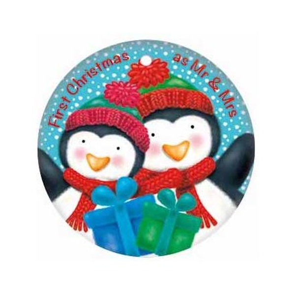 Round Metal Tag - Mr & Mrs Penguins