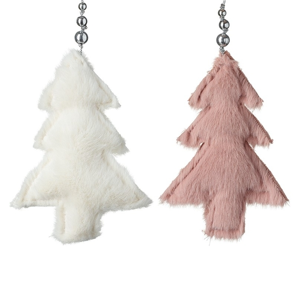 Hanging White and Pink Furry Christmas Trees (Set of 2) By Heaven Sends