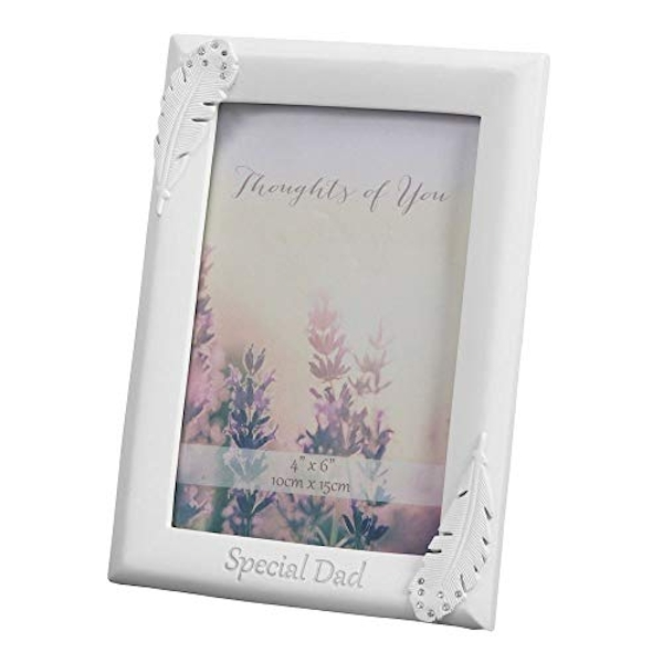 "4"" x 6"" - Thoughts of You Feather Frame with Crystals - Dad"
