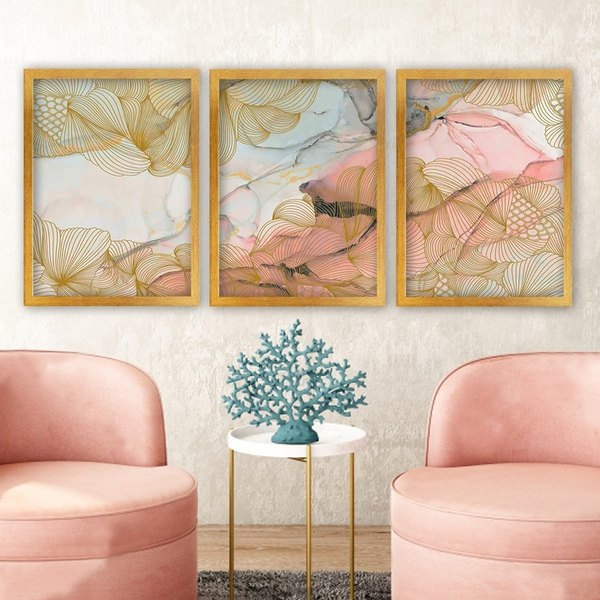 3AC163 Multicolor Decorative Framed Painting (3 Pieces)