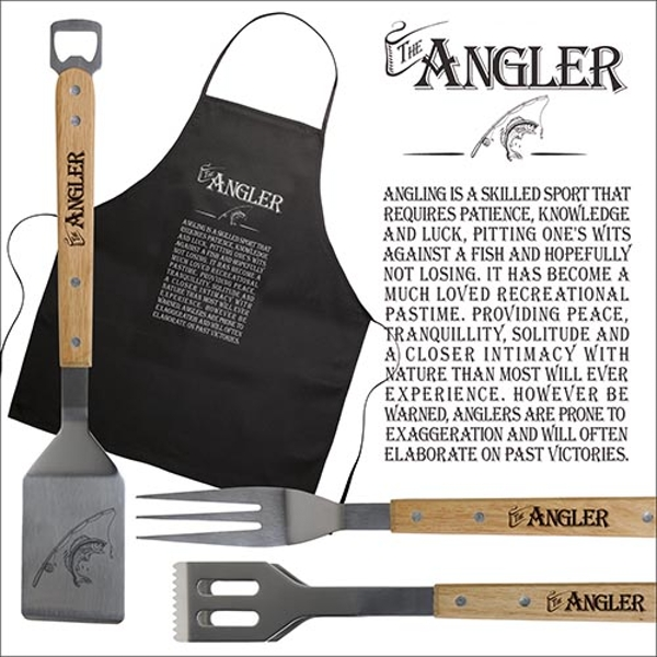Ultimate Gift for Man BBQ Set Apron and Utensils Angler
