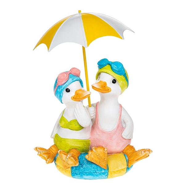 Lido Duck Sitting Pair With Brolly Ornament