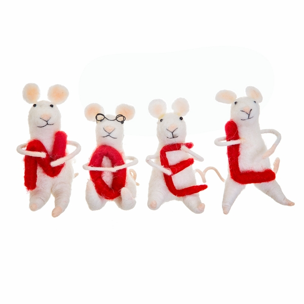 Sass & Belle Noel Felt Mice Standing Decoration