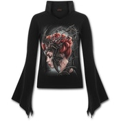 Queen of The Night High Neck Goth Women's Large Long Sleeve Top - Black