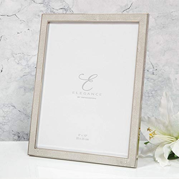 "8"" x 10"" - Elegance Nickel Plated Cream Faux Shagreen Frame"