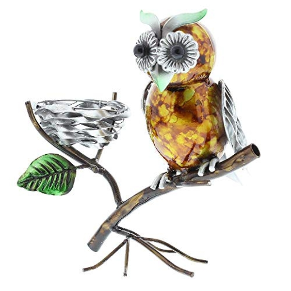 Country Living Hand Painted Metal Owl Tealight Holder 19cm