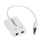 White Slim Mini Jack Headphone Splitter Cable Adapter - 3.5mm Male to 2x 3.5mm Female