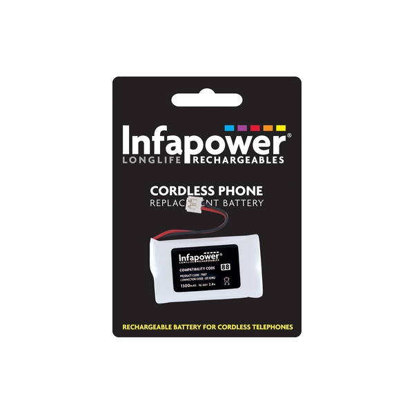 Infapower Rechargeable Ni-MH Battery for Cordless Telephones 2 x AA 2.4v 1300mAh