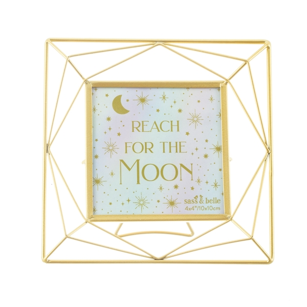 Sass & Belle Trapeze Gold Square Photo Frame