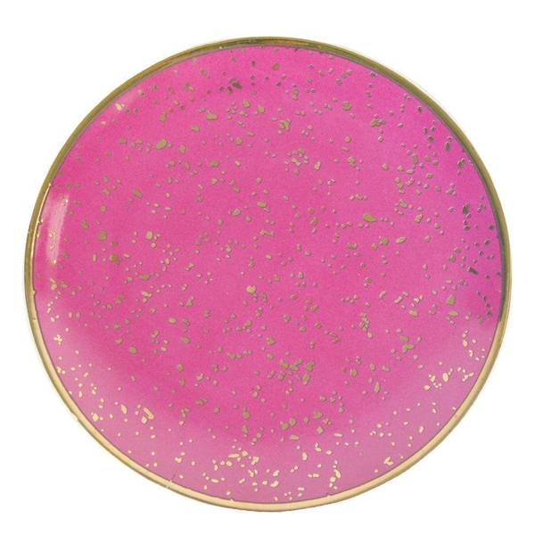 Round Trinket Dish Small Dots Pink and Rose Gold 15cm