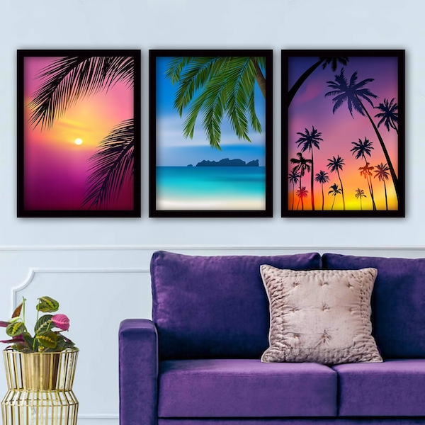 3SC130 Multicolor Decorative Framed Painting (3 Pieces)