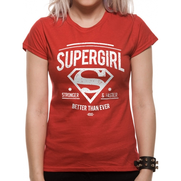 Supergirl - Stronger Faster Women's Large Fitted T-Shirt - Red