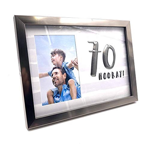 "4"" x 6"" - Luxe Male Gunmetal Birthday Frame - 70"