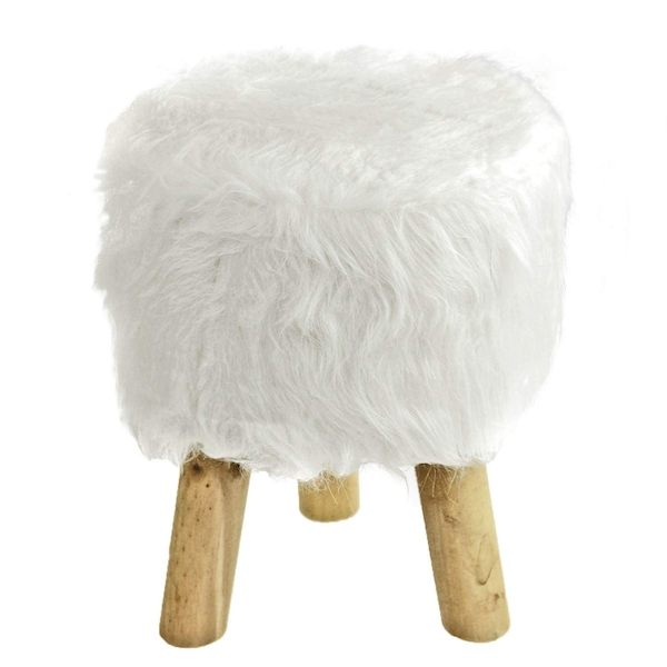 White Furry Stool Round By Lesser & Pavey