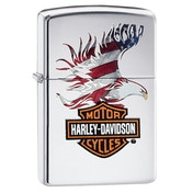 Zippo Harley Davidson Flag Eagle Polished Chrome Windproof Lighter