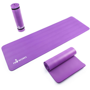 Proworks Large 10mm Thick Padded Yoga Mat With Carry Handle in Purple