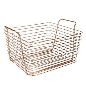 Rose Gold Metal Storage Basket | M&W Large