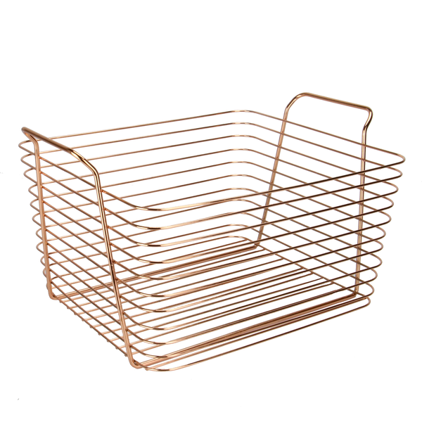 Rose Gold Metal Storage Basket | M&W Large New