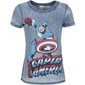 Marvel Comics Captain America Super-Powered Solider Faded Large T-Shirt