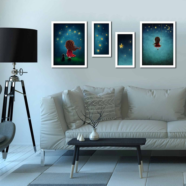4P3040BCT012 Multicolor Decorative Framed MDF Painting (4 Pieces)