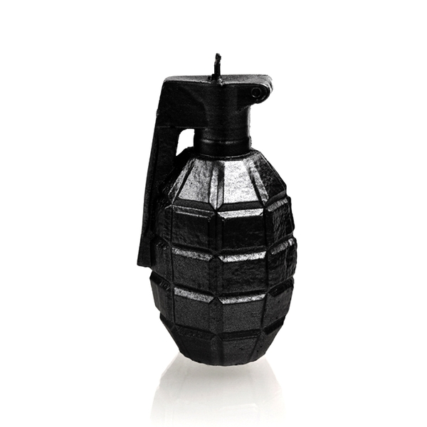 Black High Glossy Large Grenade Candle