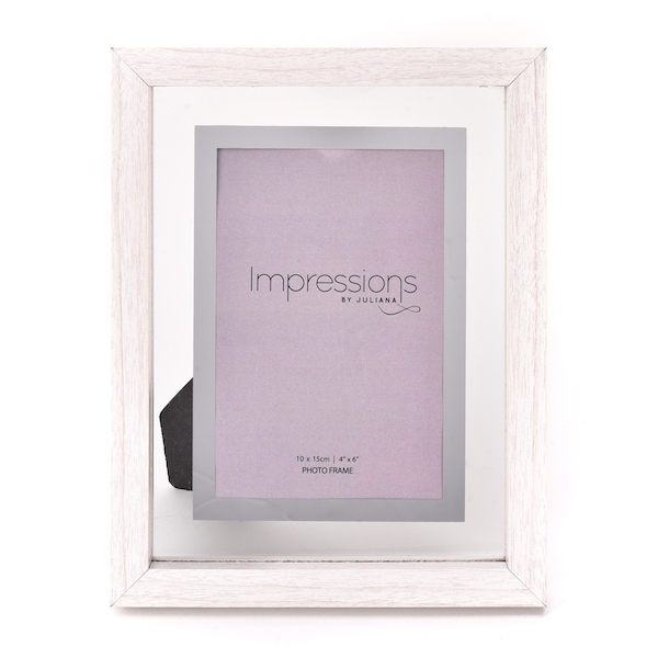 """Impressions White Wooden Frame Perspex Border 4"""" x 6"""""""