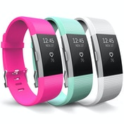 Yousave Fitbit Charge 2 Strap 3-Pack - Hot Pink/Mint Green/White Small