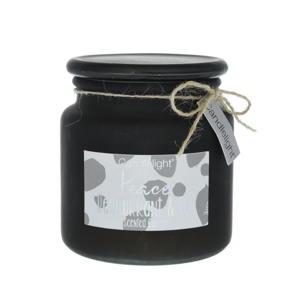 Candlelight Peace Large Frosted Glass Candle Redcurrant and Ivy Scent