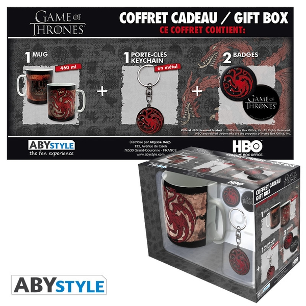 Game Of Thrones - Mug + Keychain + Badges Targaryen Gift Box