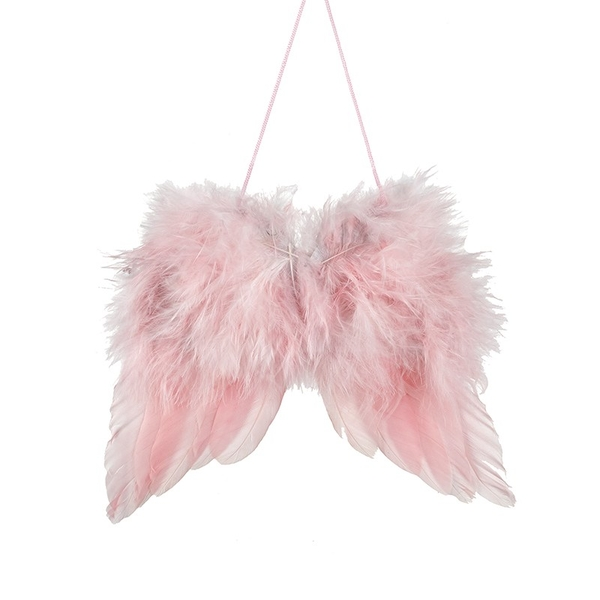 Pink Feather Hanging Wing Large by Heaven Sends
