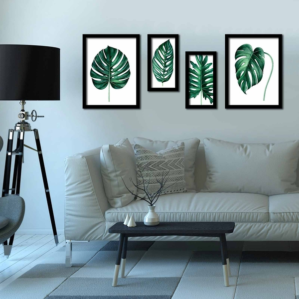 4P3040SCT013 Multicolor Decorative Framed MDF Painting (4 Pieces)