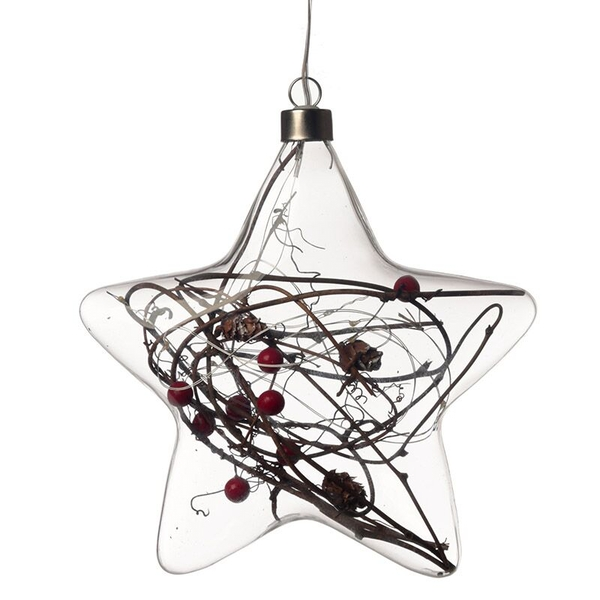 Christmas Winter Berries Star Large Decorative Hanging LED