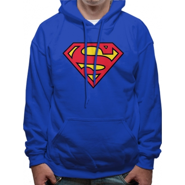 Superman - Logo Men's Large Pullover Hoodie - Blue
