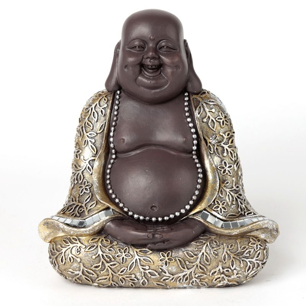 Brown and Silver Chinese Laughing Buddha Sitting