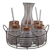 Set of 6 Drinking Jugs With Jug In Metal Carrying Tray