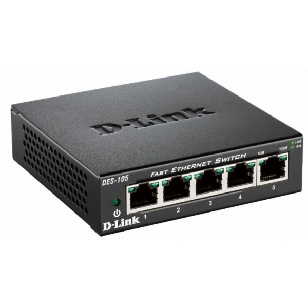 D-Link DES-105/B 5 Port 10/100 Metal Housing Desktop Switch UK Plug